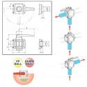 "3-way ball valve 1 1/2""F - low coupling 453, ARAG"