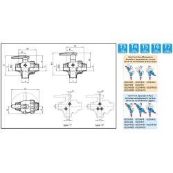 Zawór kulowy 3-drożny T6, ARAG