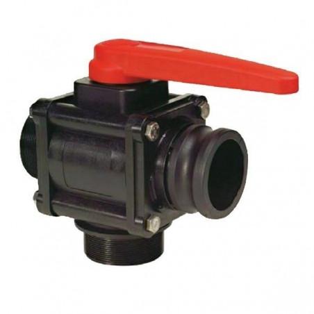 "3-way ball valve 1 1/2""F - Camlock - low coupling 453, ARAG"