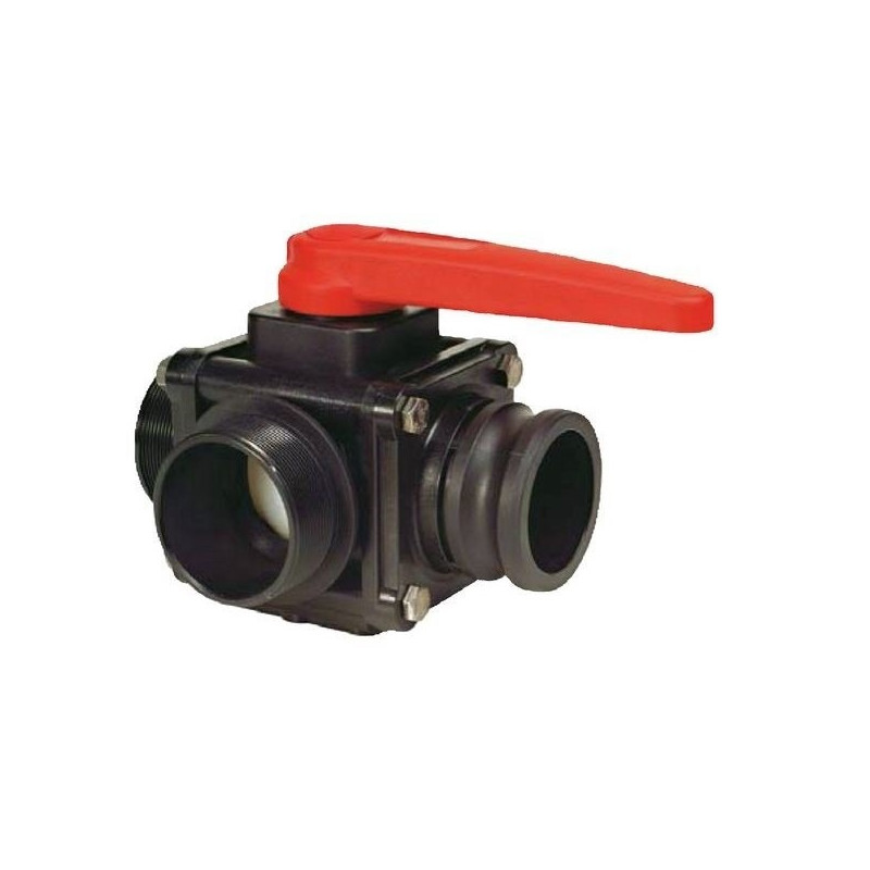 "3-way ball valve 2""M - Camlock - side coupling 453, ARAG"