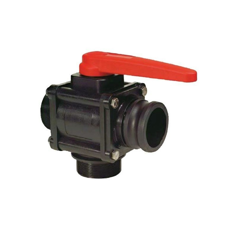 "3-way ball valve 1 1/2""M - Camlock - low coupling 453, ARAG"