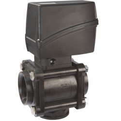 3-way ball electric valve lower threaded coupling, UHMW, ARAG